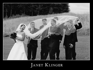 Beautiful bride with gusty winds, oh and groomsmen, at Snoqualamie Ridge Golf Club