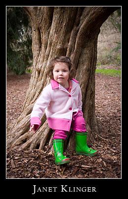 Ellie at base of old tree, washington park arboretum