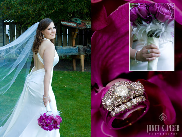 Bride with fuschia flower and feather bouquet