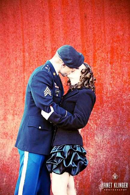 Now that's a kiss- Good-bye military man