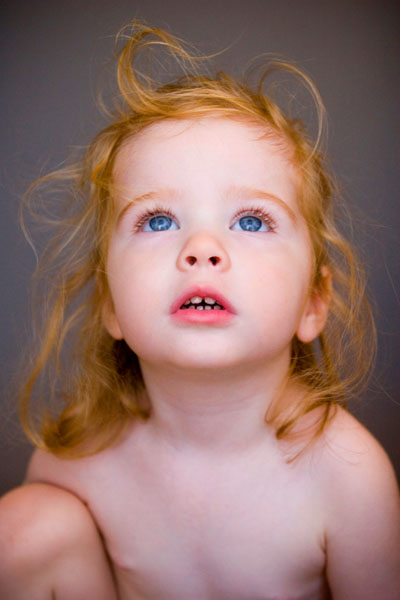 Highest quality portrait photography of redhead child in studio, Seattle WA