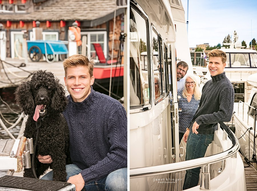 Senior photo with parents and poodle on boat