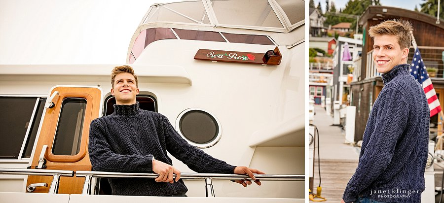 Senior photo on boat on Lake Unior, Seattle