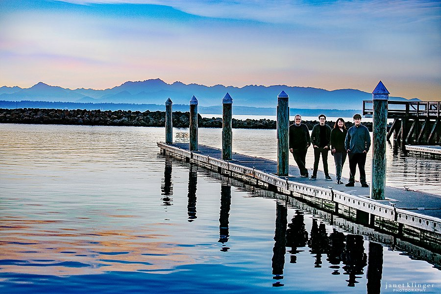 Family Portrait at Sunset with Olympic Mountains